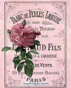 French Perfume LARGE format digital image by CottageRoseGraphics, $3.75    site bookmarked for decoupage onto fabric
