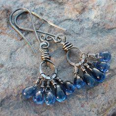 KYANITE+earrings+blue+Kyanite+earrings+by+angryhairjewelry+on+Etsy,+$49.00