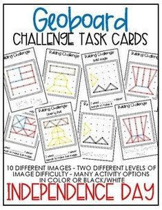 Geoboard Challenge Task Card - Independence Day1 Fine Motor Activities For Kids, Counting Activities, Hands On Activities, Kids Learning, Differentiated Kindergarten, Kindergarten Activities, Math Stations, Math Centers, Task Cards