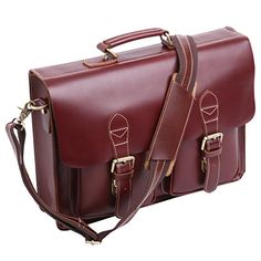 Leathario Mens Leather Briefcases Laptop Tote Bags. Retro Genuine Leather Briefcase. Easy to take office supplies and Suitable for business trip. It Is Also Can Be As A Wonderful And Practical Gift Or Present For Valentine'S Day, Father'S Day, Teachers' Day, Thanksgiving, Christmas, Birthday Or Almost Any Other Occasion. 100% Genuine Leather. Environmental friendly material, Vegetable tanned and Glossy leather. Durable and smooth Brass zipper. Inserted buckle on the two pockets in front…