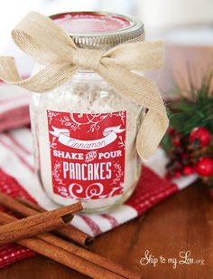 shake and pour cinnamon pancake mix. what a great gift idea! This would be perfect to use christmas morning.