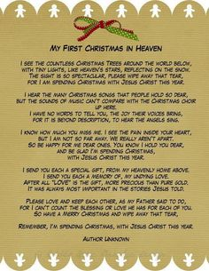 Christmas in Heaven.missing you daddy your first Christmas in Heaven.our first Christmas without you. Christmas In Heaven, Christmas Poems, My First Christmas, Christmas Time, Christmas Crafts, Christmas Printables, Christmas Stuff, Christmas Blessings, Christmas Readings