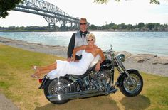 Bride and Groom and their Harley