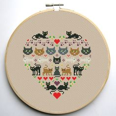 Heart and Cats 1 cross stitch pattern Instant by CrossStitchForYou