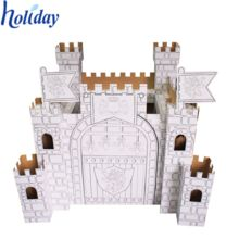 Make and Paint Your Own Castle Playhouse - Large Cardboard Fort Kit in Toys & Games, Outdoor Toys & Activities, Garden Games & Activities Cardboard Painting, Cardboard Castle, Cardboard Playhouse, Cardboard Houses, Cardboard Crafts, Princess Playhouse, Castle Playhouse, Princess Castle, Fort Kit