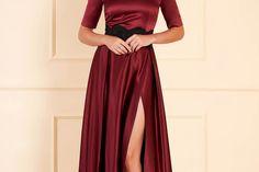 Rochie Artista visinie lunga eleganta de seara din satin in clos cu umeri goi Formal Dresses, Artist, Red, Fashion, Weddings, Dresses For Formal, Moda, Formal Gowns, Fashion Styles