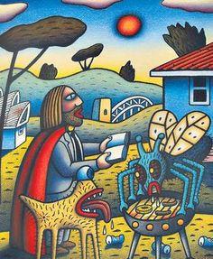 Barbecue, by Reg Mombassa. Quirky Art, Whimsical Art, Funny Vintage Ads, Graffiti Photography, Acid Art, Street Painting, Tape Art, Alternative Art, Art For Art Sake