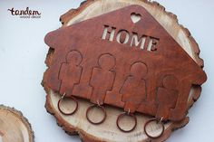 wooden key holder with keychain HOME by WoodTandemDecor on Etsy
