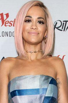 Rita Ora with a pretty peach bob