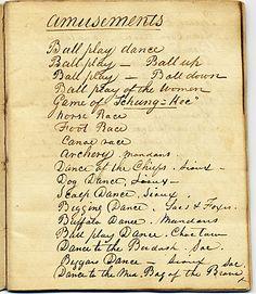 George Catlin list of amusements