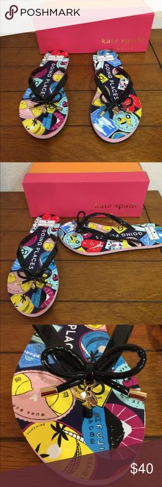 Kate Spade Flip Flops-sandals Black Nova going places passport flip flops kate spade Shoes Sandals