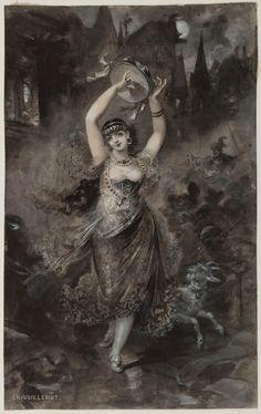 """André-Charles Voillemot. """"Esmeralda dansant"""". (Notre-Dame de Paris). Lavis et gouache sur papier. 1836. Paris, Maison de Victor Hugo © Maisons de Victor Hugo / Roger-Viollet"""