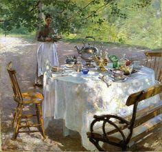 Hanna Hirsch-Pauli (Swedish painter) 1864 - 1940 Frukostdags (Breakfast-time), 1887 oil on canvas 87 x 91 cm. Oil On Canvas, Canvas Art, Canvas Prints, Gravure Illustration, Hokusai, Nordic Art, Impressionist Artists, Time Painting, Painting Art