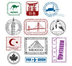 World travel stamps Royalty Free Stock Vector Art Illustration