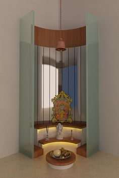 Modern Pooja Mandir, Design by Interior Designer: Kamlesh Maniya, Surat, India. Temple Room, Home Temple, Indian Home Interior, Indian Home Decor, Indian Home Design, Temple Design For Home, Mandir Design, Pooja Mandir, Pooja Room Door Design