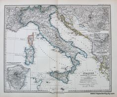 Italien - Italy - 1881 by Stieler $140.  Antique Maps and Charts – Original, Vintage, Rare Historical Antique Maps, Charts, Engravings