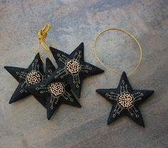 Felt stars ornament, rustic primitive, Christmas ornaments, gift for home, black golden stars, Christmas star, Christmas tree decor