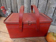 Antique Primitive Tin Lunch Box Wood Handles Old Barn Red Paint AAFA | eBay