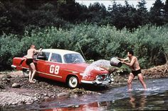 No, not the two Eastern Bloc lads horseplaying. That's a Tatra 603 in a Polish rally! Vintage Cars, Vintage Photos, Mini Trucks, Rally Car, Car Wash, Cars And Motorcycles, Motorbikes, Race Cars, Dream Cars