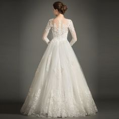 Classic A-Line High-neck Floor-length Tulle Wedding Dress With Appliques Lace - Wedding Day Classic Wedding Gowns, Western Wedding Dresses, Bridal Dresses, Long Sleeve Wedding, Wedding Dress Sleeves, Flattering Wedding Dress, Tulle Wedding, Gown Wedding, Marie