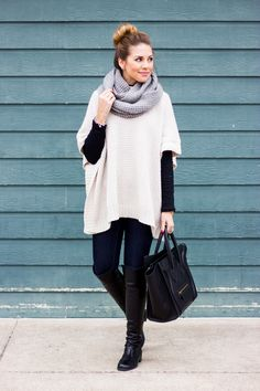 Style Note: I LOVE this poncho and entire outfit look. the poncho and scarf are perfect! Winter Teacher Outfits, Winter Outfits For Work, Fall Outfits, Fashion Outfits, Work Outfits, Diva Fashion, Fashion Ideas, Casual Outfits, Outfit Work