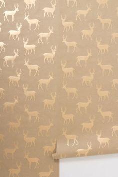 metallic stag wallpaper | anthropologie by krista