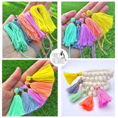 Updates from fancyfreebirds on etsy Tassel Bracelet with Wood Beads and Colored Tassel This listing is for one wood bead bracelet with your choice of bead and tassel color. Pom Pom Crafts, Flower Crafts, Yarn Crafts, Diy And Crafts, Etsy Crafts, Kids Crafts, Craft Projects, Tassel Bracelet, Tassel Earrings