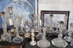 vintage glass candlestick collection