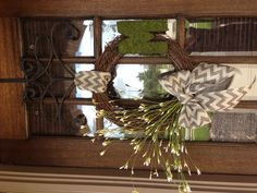Chevron burlap bow wreath