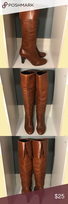 """Heeled Boots Heeled boots.  Worn about 5 times.  Pretty good condition.  I'm 5'2"""" and these sit right under the knee.  Not sure on the brand, the last picture has a signature (if you know what it is, let me know :) ).  Has thin sole pad on inside of boots. Jessica Simpson Shoes Heeled Boots"""