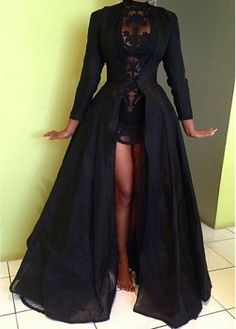 My Cinderella dress...Long Sleeve Solid Black Maxi Coat on sale only US$30.55 now, buy  Coat at modlily.com
