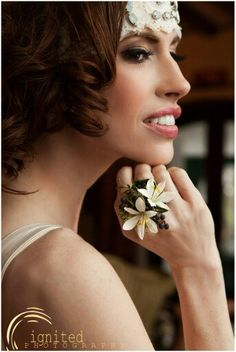 """Instead of a wrist corsage, how about a fresh """"ring"""" corsage? Beautiful!"""