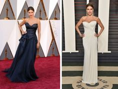 Sofia Vergara switched from a navy blue strapless dress into a white onet the 2016 Vanity Fair Oscar Party at the Wallis Annenberg Center for the Performing Arts on February 28, 2016.