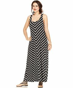 Extra Touch Plus Size Sleeveless Striped Mesh Maxi Dress
