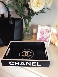 Replica Chanel Tray Black with white logo by CopacabanaBeach