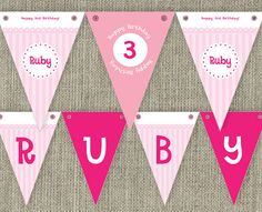 Party Bunting Flags party decorations for girls by SladeStudios, $9.00