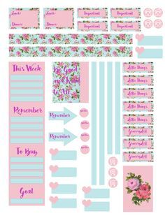 Free Planner Printables for Mambi Happy Planner. Pink. Floral. Shabby chic.