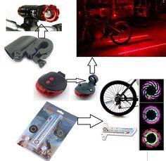 Kombiset: Taschenlampe +30 Modus 16 LED Flash Rad Licht + Fahrrad Laser Rücklicht (2 Laser + 5 LED) Led, Electronics, Cards, Shopping, Flashlight, Used Cars, Bicycle, Map