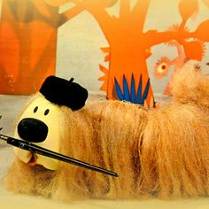 Dougal ~ Magic Roundabout I remember trying to make my first art at school , Dougal dog with a washing up bottle  wool lol