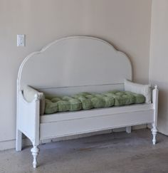 Fab Rehab Creations: directions on how they made this bench from an old bed set.