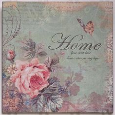 Vintage Shabby Chic Inspirational Home Sweet Home Romantic Decor Picture Plaque…