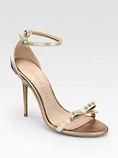 Burberry - Willenmore Metallic Leather Studded Bow Sandals