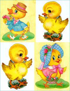 #Easter #chicks (vintage cardboard decorations)