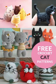 collage of free crochet cat patterns
