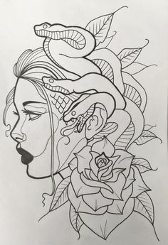 Retro Tattoos, Dope Tattoos, Black Tattoos, Half Sleeve Tattoos Drawings, Tattoo Sketches, Drawing Sketches, Medusa Tattoo Design, Ribbon Tattoos, Tattoo Portfolio