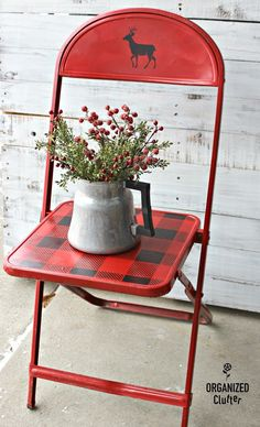 painted chairs - Thrift Shop Vintage Child's Metal Folding Chair Christmas Upcycle Christmas Chair, Rustic Christmas, Christmas Diy, Christmas Decorations, Christmas Vacation, Homemade Christmas, Holiday Decorating, Christmas Ornaments, Painted Chairs