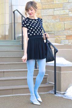 Polka dot top, Black skirt, and Light blue tights