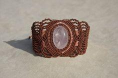Macrame bracelet with Rose Quartz (natural stone)