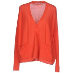 Gentryportofino Cardigan ($576) ❤ liked on Polyvore featuring tops, cardigans, coral, long sleeve v neck cardigan, v-neck tops, light weight cardigan, v-neck cardigan and red v neck cardigan