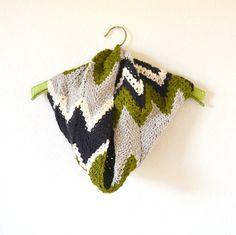 Chevron Crochet Cowl Scarf Chunky Cotton